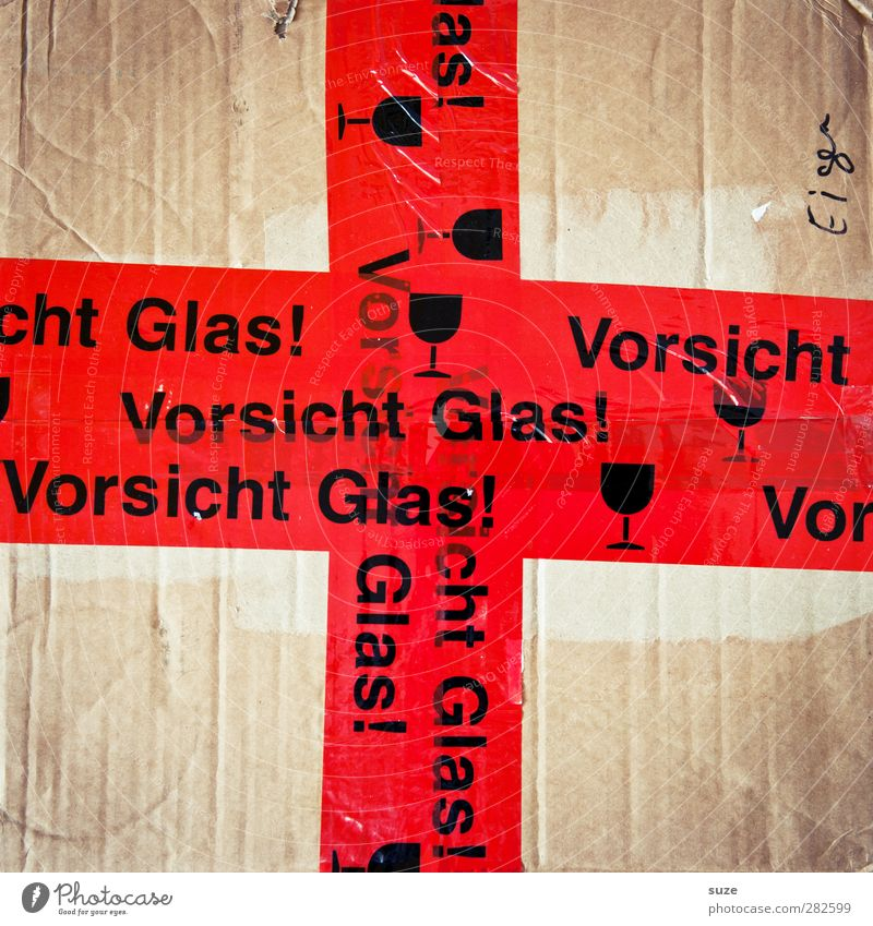 Rotes Kreuz rot Schriftzeichen Hinweisschild Symbole & Metaphern einfach Umzug (Wohnungswechsel) Warnhinweis Typographie Karton Kiste Etikett Anschnitt