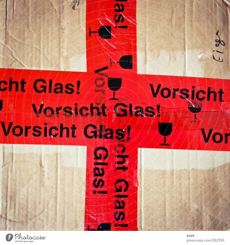 Rotes Kreuz Umzug (Wohnungswechsel) Verpackung Schriftzeichen Hinweisschild Warnschild einfach rot Symbole & Metaphern Karton Typographie Warnhinweis Warnung