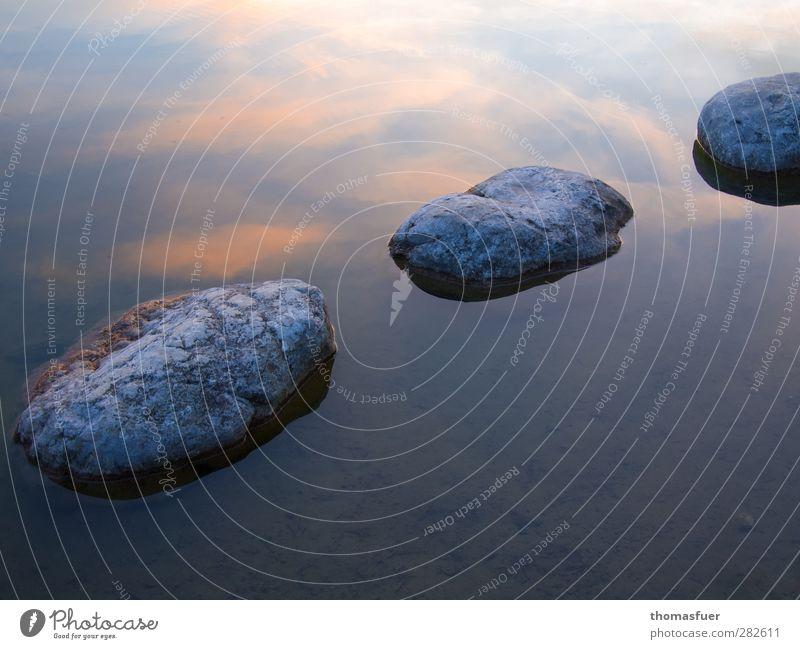 ZEN Stein Wasser blau gold orange Stimmung Gelassenheit geduldig ruhig Weisheit Zufriedenheit Idylle Zen Reflexion & Spiegelung Himmel Wasseroberfläche Wolken