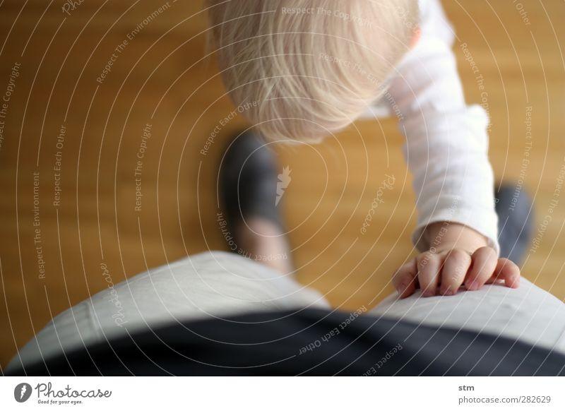 kontakt Häusliches Leben Wohnung Mensch Kind Kleinkind Familie & Verwandtschaft Kindheit Kopf Hand 2 1-3 Jahre blond Gefühle Stimmung Zufriedenheit Lebensfreude
