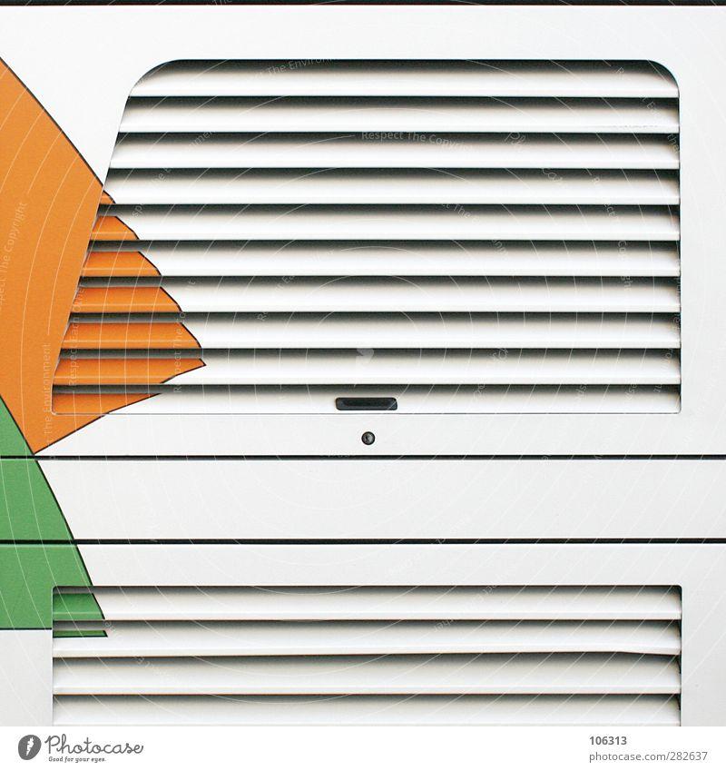 † Metall Linie grün orange Schlitz Klappe Lüftung parallel graphisch Verdeck Lüftungsschlitz Lager Grafische Darstellung Strukturen & Formen Farbe Farbfoto