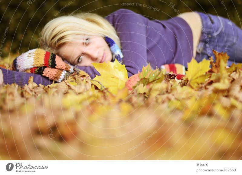 Laub Mensch feminin Junge Frau Jugendliche Erwachsene 1 Herbst Blatt Wald Lächeln liegen schön mehrfarbig Herbstlaub herbstlich blond Schal Farbfoto