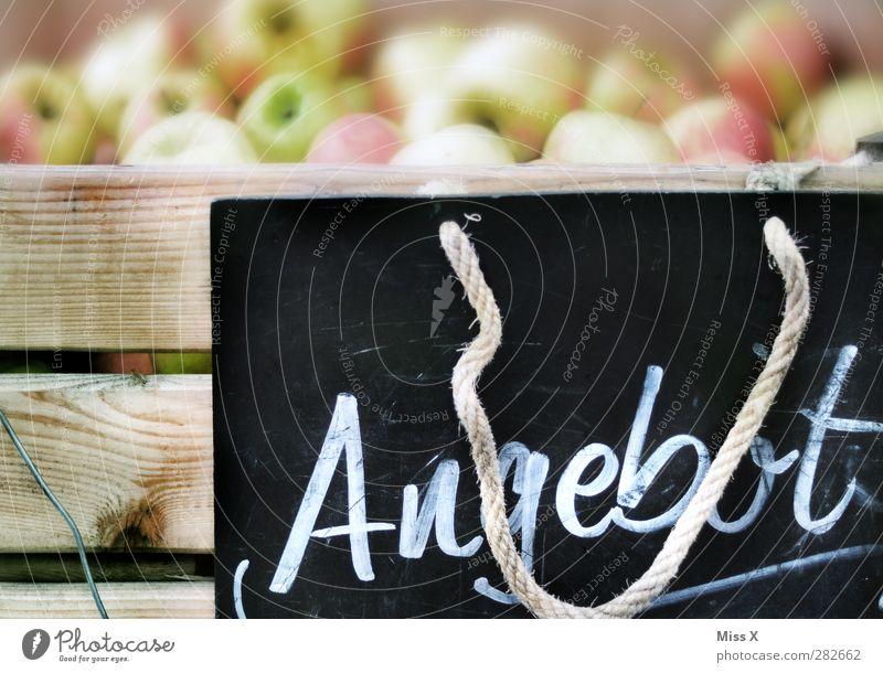 Angebot Lebensmittel Frucht Apfel Ernährung Bioprodukte Schriftzeichen Hinweisschild Warnschild frisch Gesundheit lecker süß Obstkiste Schilder & Markierungen