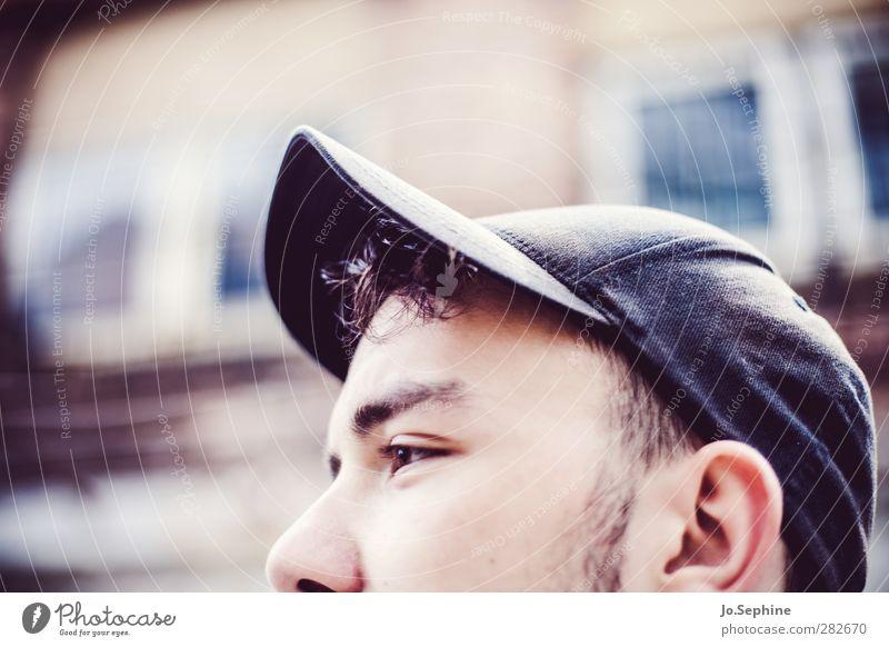 cut. Lifestyle Stil Mensch maskulin Junger Mann Jugendliche Kopf 1 18-30 Jahre Erwachsene Basecap trendy Anschnitt Gedanke Gesicht sanft unvollendet