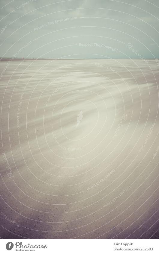 Nowhere Strand trist Menschenleer Einsamkeit Sandstrand Wind Sandsturm Meer sentimental Traurigkeit verirrt Horizont Himmel Ferne Sandverwehung Natur
