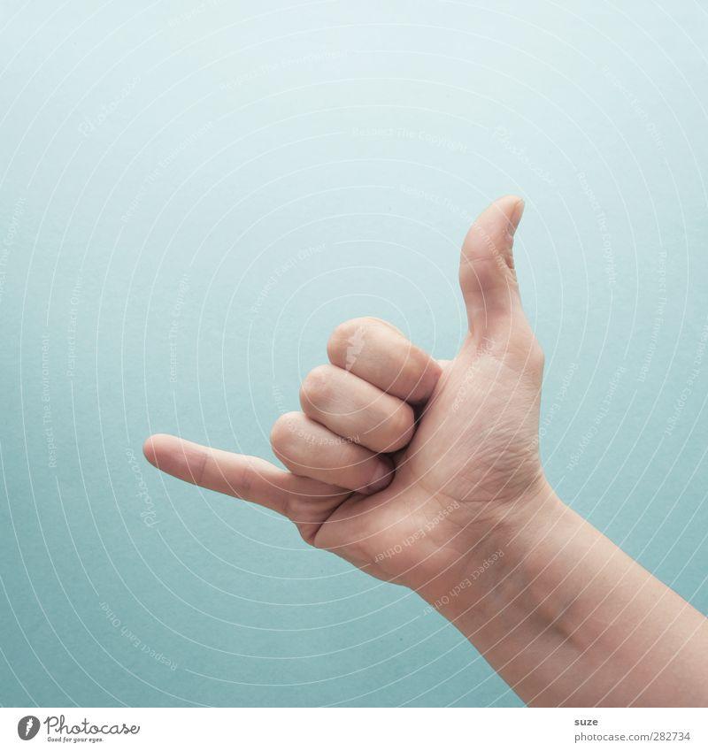 Ich ruf dich an. Freude Business Sitzung sprechen Haut Arme Hand Finger Zeichen Coolness einfach hell trendy Kommunizieren hell-blau gestikulieren Europäer