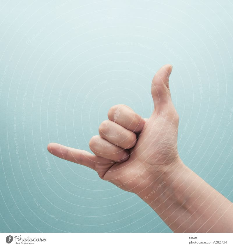 Ich ruf dich an. Hand Freude sprechen hell Business Arme Haut Finger Kommunizieren Telefon Coolness einfach Zeichen Europäer Sitzung trendy