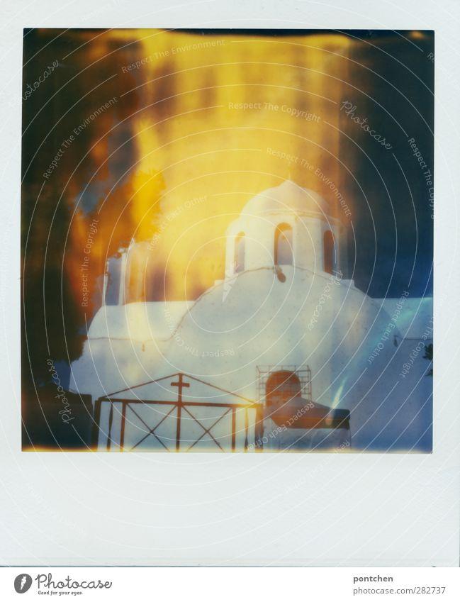 Santorini Kirche blau weiß Fenster Religion & Glaube Gebäude Christliches Kreuz