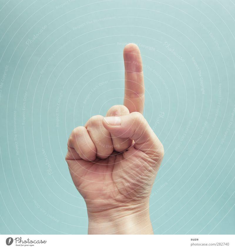 Aufgepasst. Hand Schule hell Arme Haut Erfolg Finger Kommunizieren Coolness einfach Zeichen Bildung Europäer trendy Richtung Wachsamkeit