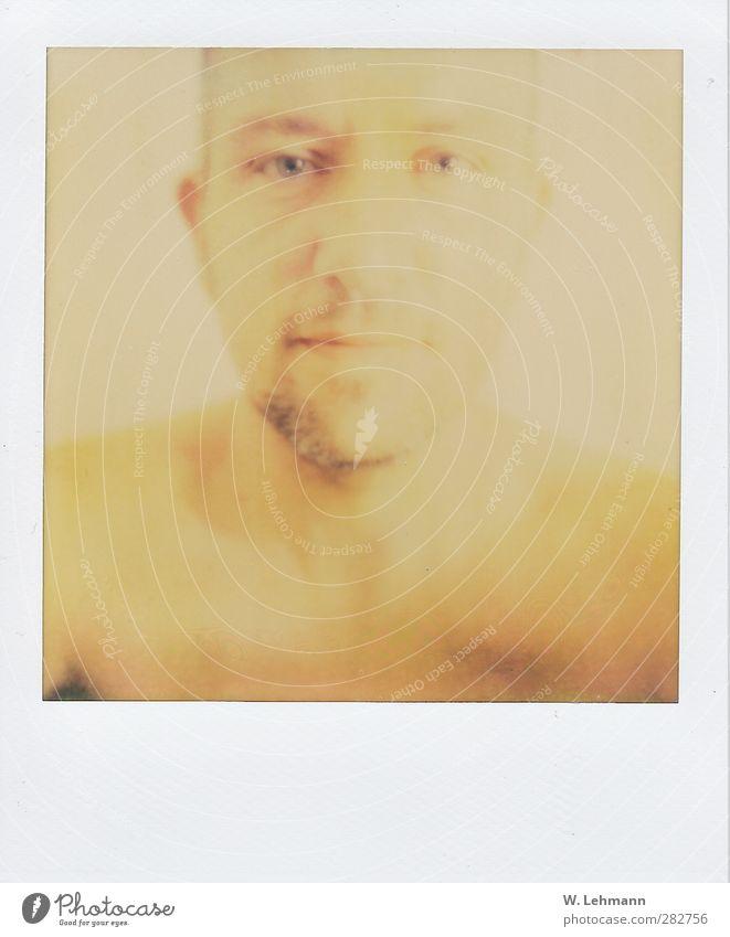 Polaroid Nr. 1 Self Mensch Mann alt schön Erwachsene gelb Kopf maskulin Freundlichkeit dünn Neigung Schulter Hals klug 30-45 Jahre Dreitagebart