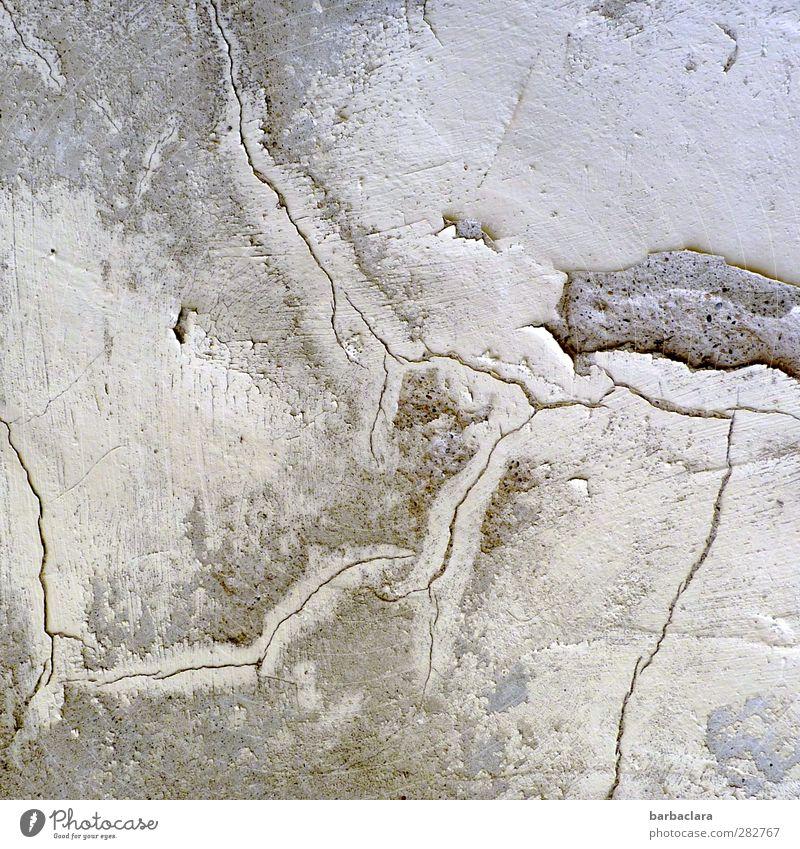 Früher war alles besser | Spuren der Zeit Gebäude Kloster Mauer Wand Fassade Riss Stein Linie alt hell grau weiß Schutz Verfall Vergänglichkeit