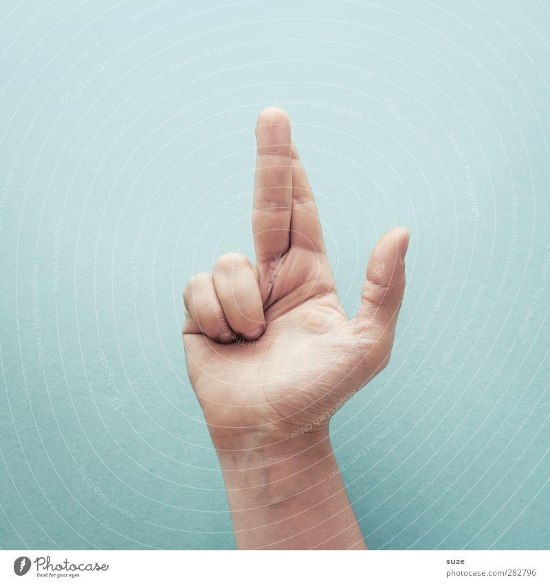 Früher war alles besser | Ich schwöre Hand hell Arme Haut Finger Kommunizieren Coolness einfach Zeichen Europäer trendy Richtung gestikulieren Daumen lügen hell-blau