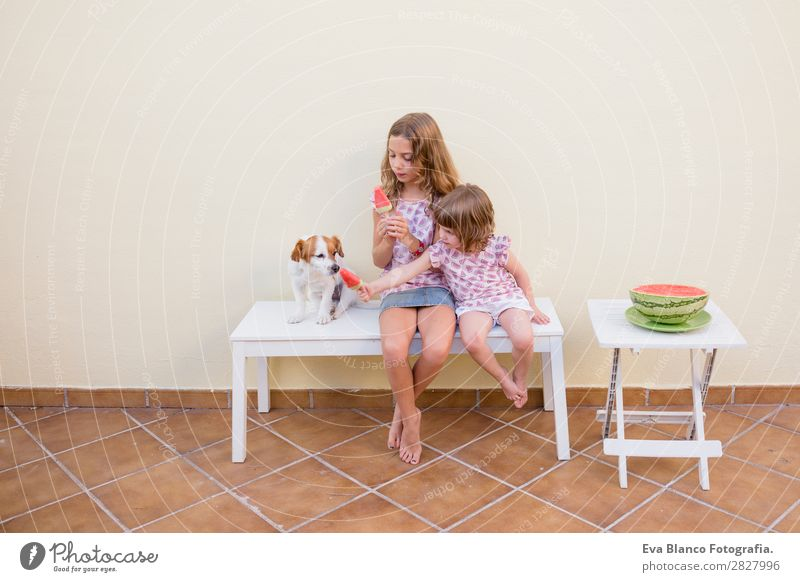 Zwei schöne Schwester Kinder essen Wassermelonen-Eiscreme. Frucht Speiseeis Essen Freude Glück Ferien & Urlaub & Reisen Sommer Haus Garten Mensch Baby Kleinkind