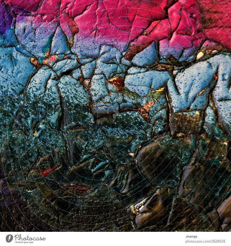 Runzel Mauer Wand Farbstoff außergewöhnlich dick einzigartig trashig blau rosa schwarz Farbe verwittert Hintergrundbild Farbfoto Außenaufnahme Detailaufnahme