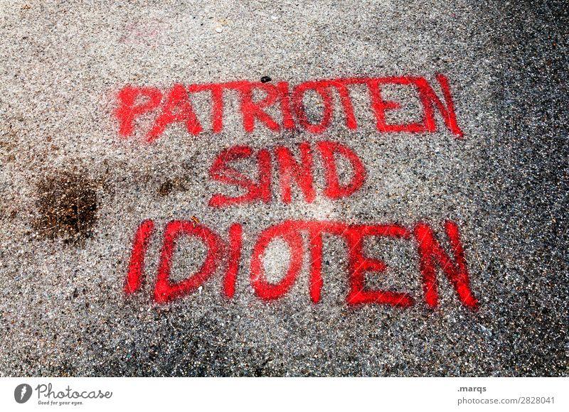 Patrioten sind Idioten Graffiti Farbstoff Stein Schriftzeichen trashig Politik & Staat Patriotismus Dummkopf