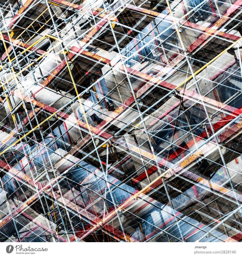 Scaffold Lifestyle elegant Stil Design Baustelle Architektur Stahl Kunststoff Linie außergewöhnlich trendy modern neu chaotisch Ordnung Perspektive planen