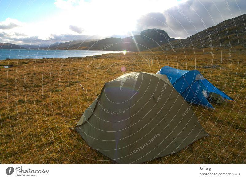 Moin! Abenteuer Ferne Expedition Camping Berge u. Gebirge wandern Landschaft Wasser Sonne Schönes Wetter Wiese Hügel See Jagd träumen Unendlichkeit blau braun
