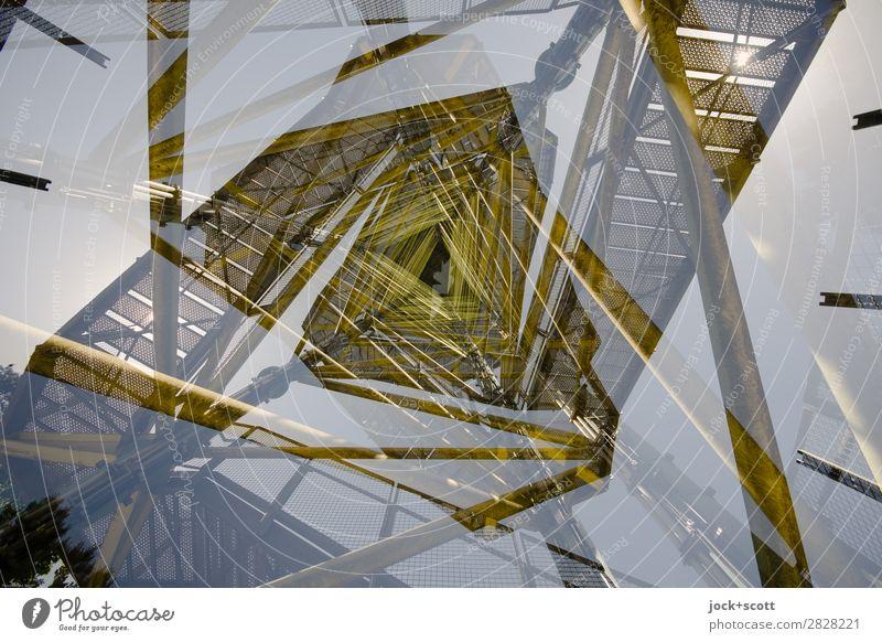 Turm Dublette Architektur gelb Stil außergewöhnlich Stimmung Design Linie Treppe Metall Wachstum Perspektive Schönes Wetter fantastisch einzigartig hoch