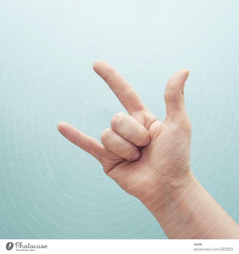 Ich rocke wie Hose Hand Liebe hell Musik Arme Haut Finger Kommunizieren Coolness einfach Zeichen Europäer trendy gestikulieren Daumen hell-blau