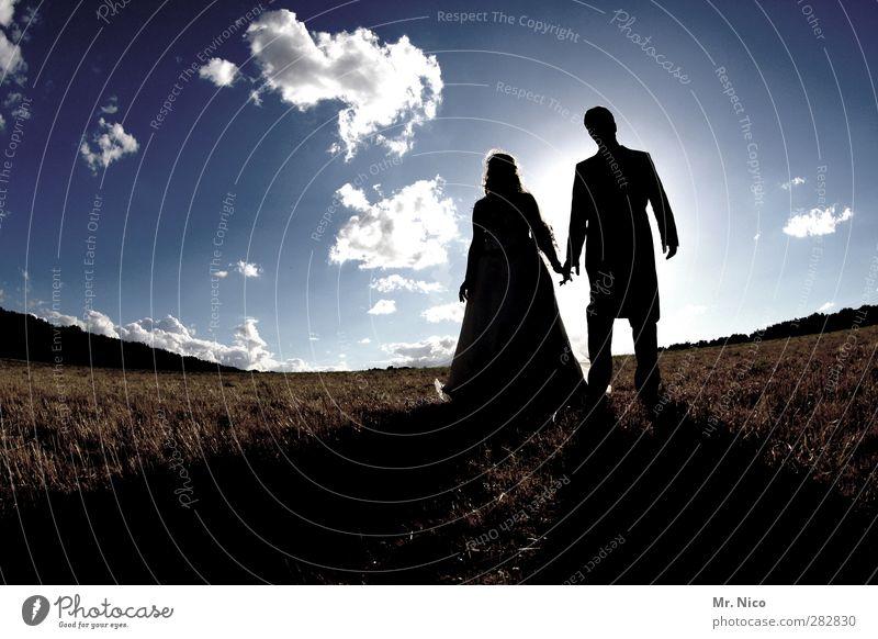 together Hochzeit maskulin feminin Paar 2 Mensch Umwelt Natur Landschaft Himmel Wolken Schönes Wetter Wiese Feld Kleid Anzug Zusammensein Liebe Verliebtheit