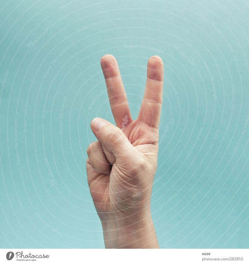 Hasenpfote Haut Arme Hand Finger Zeichen Kommunizieren Coolness einfach hell trendy Freiheit Frieden Zeigefinger hell-blau gestikulieren Europäer