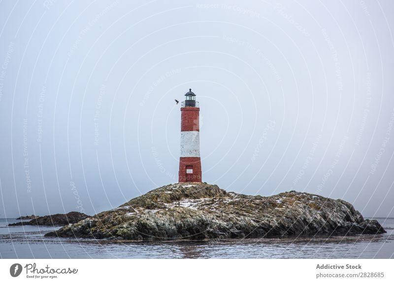 Leuchtturm auf einer felsigen Insel Felsen Nebel Meer Außenseite Navigation Verwarnung Wolken Wasser Natur Turm geheimnisvoll mystisch Strukturen & Formen