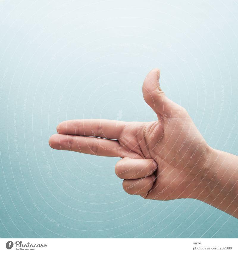 Fotoshoot Hand hell Arme Haut Finger Kommunizieren Coolness bedrohlich einfach Zeichen Europäer trendy Richtung gestikulieren Daumen Selbstmord