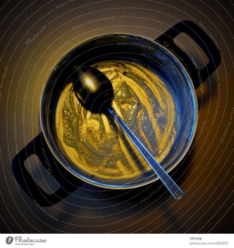 aufgegessen schwarz gelb Essen gold Lebensmittel dreckig Ernährung Schalen & Schüsseln Topf Besteck Löffel