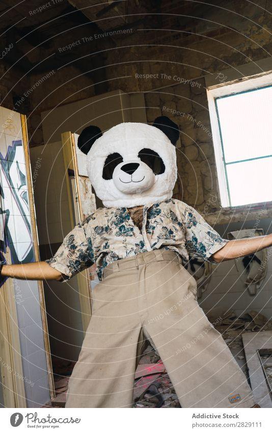 Mann mit Plüsch-Pandakopf Freude Maske Kostüm Kopf heiter Gebäude
