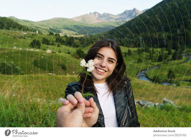 Person, die dem Menschen Blumen schenkt Frau Wiese Feld Hand Fotograf Sommer Natur
