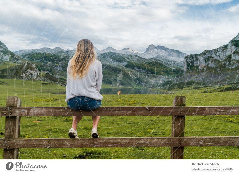 Frau auf der Alm sitzend Wiese Geländer Erholung Berge u. Gebirge Kuh Weide Natur Feld Mädchen Gras schön Jugendliche grün Frühling Mensch Fröhlichkeit Freiheit