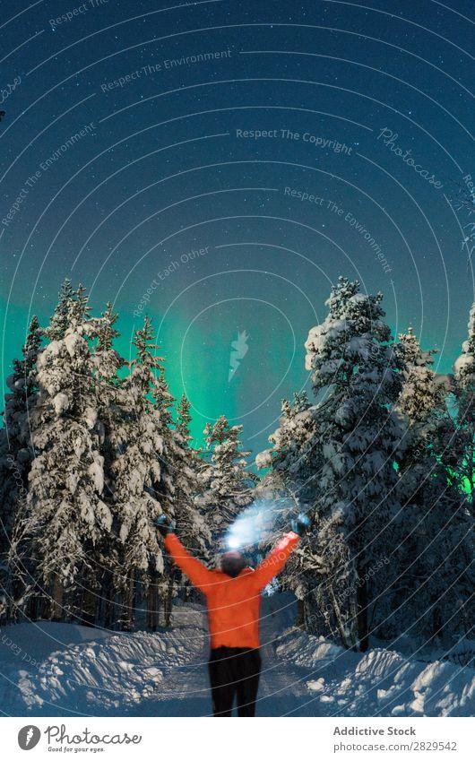 Mann steht auf der Winterstraße Natur kalt Mensch stehen Wald Nacht Polarlicht Schönes Wetter Norden bedeckt Schnee Jahreszeiten weiß Landschaft Eis Frost