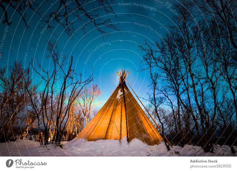 Zelt im Winterwald Natur kalt Norden bedeckt Licht Nacht Wald Schnee Jahreszeiten weiß Landschaft Eis Frost Ferien & Urlaub & Reisen Berge u. Gebirge schön