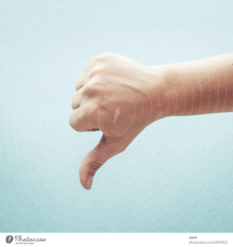 Nee, das is nix für hier! Hand sprechen hell Business Arme Haut Finger Kommunizieren Coolness einfach Zeichen Europäer trendy Dienstleistungsgewerbe Karriere