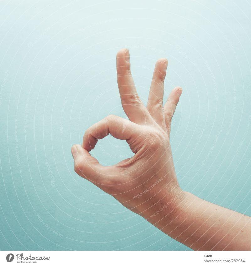 Mir gehts gut, danke. Freude Dienstleistungsgewerbe Business Karriere sprechen Haut Arme Hand Finger Zeichen Kommunizieren Coolness einfach hell trendy