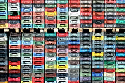 Gemüsekisten Wirtschaft Landwirtschaft Forstwirtschaft Kasten Kunststoff blau braun mehrfarbig gelb grau grün rot schwarz weiß Güterverkehr & Logistik Kiste