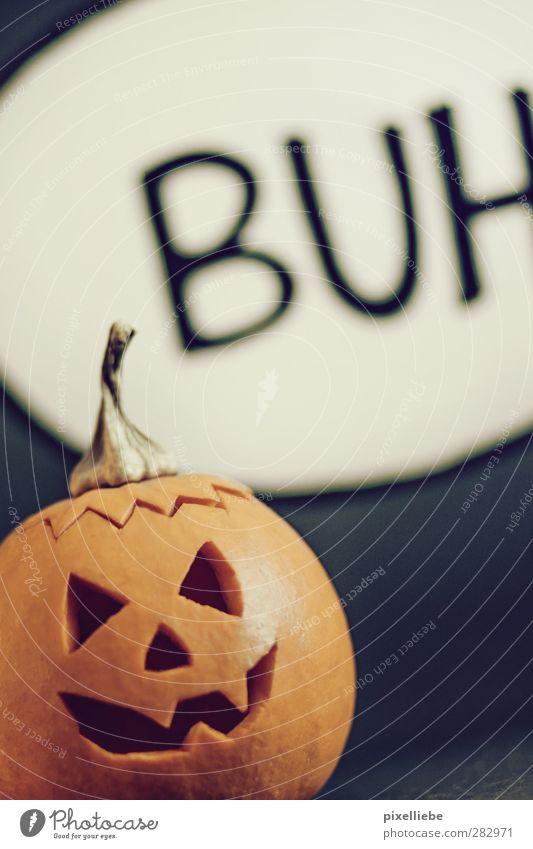 Buuuh dunkel Herbst lustig Feste & Feiern Angst Lebensmittel bedrohlich Gemüse gruselig Comic Halloween Kunstwerk Kürbis Vegetarische Ernährung Sprechblase Erntedankfest