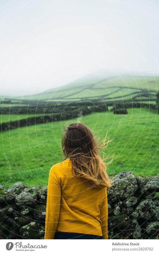 Frau auf der grünen Wiese Feld Aussicht Tourismus Ferien & Urlaub & Reisen stehen Lächeln Natur Zaun Landschaft Stein Nebel Gras ländlich Wolken Jahreszeiten