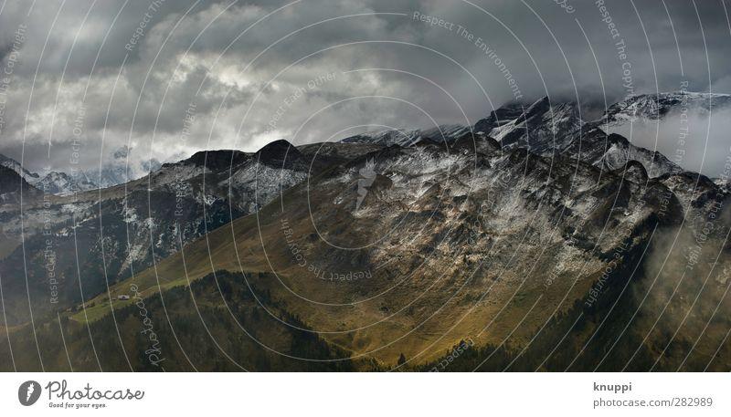 Willkommen am Berg des Grauens Himmel Natur Wasser weiß Wolken Landschaft schwarz gelb Umwelt Berge u. Gebirge Herbst Schnee grau Luft Felsen Wetter