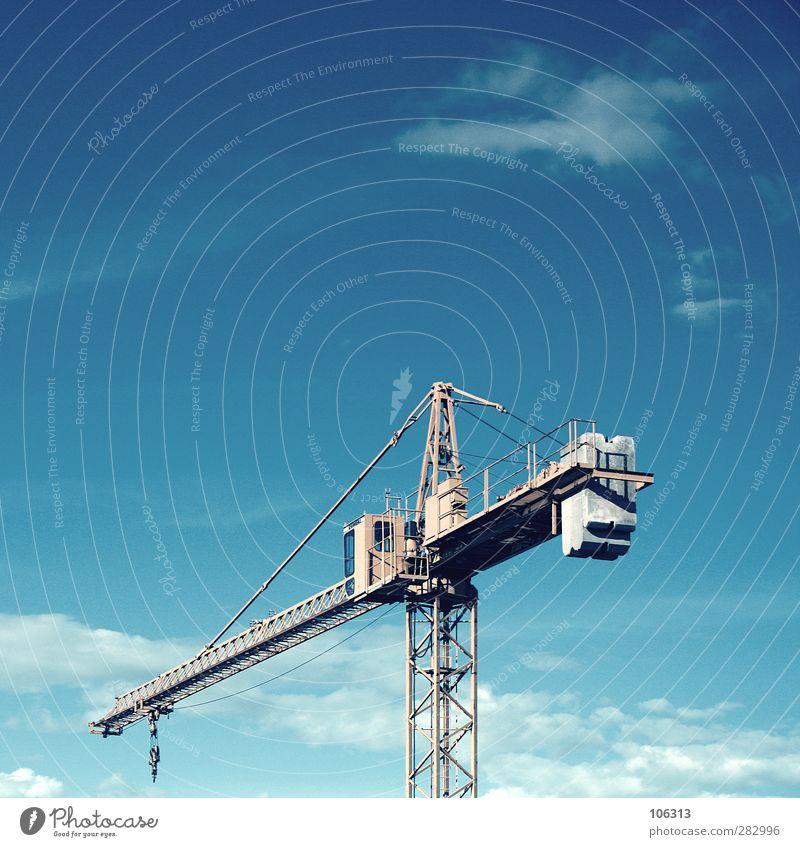 Baustudien Himmel Arbeit & Erwerbstätigkeit Baustelle bauen Kran fertig Baumaschine Hochkonjunktur