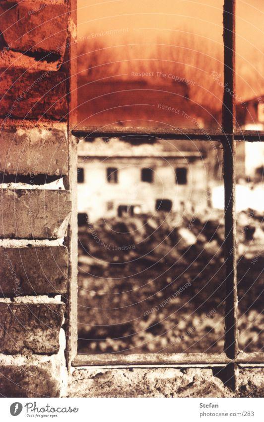 "Das ""Fenster"" zum Hof Zaun Gitter Pferch kaputt Architektur Rücken"