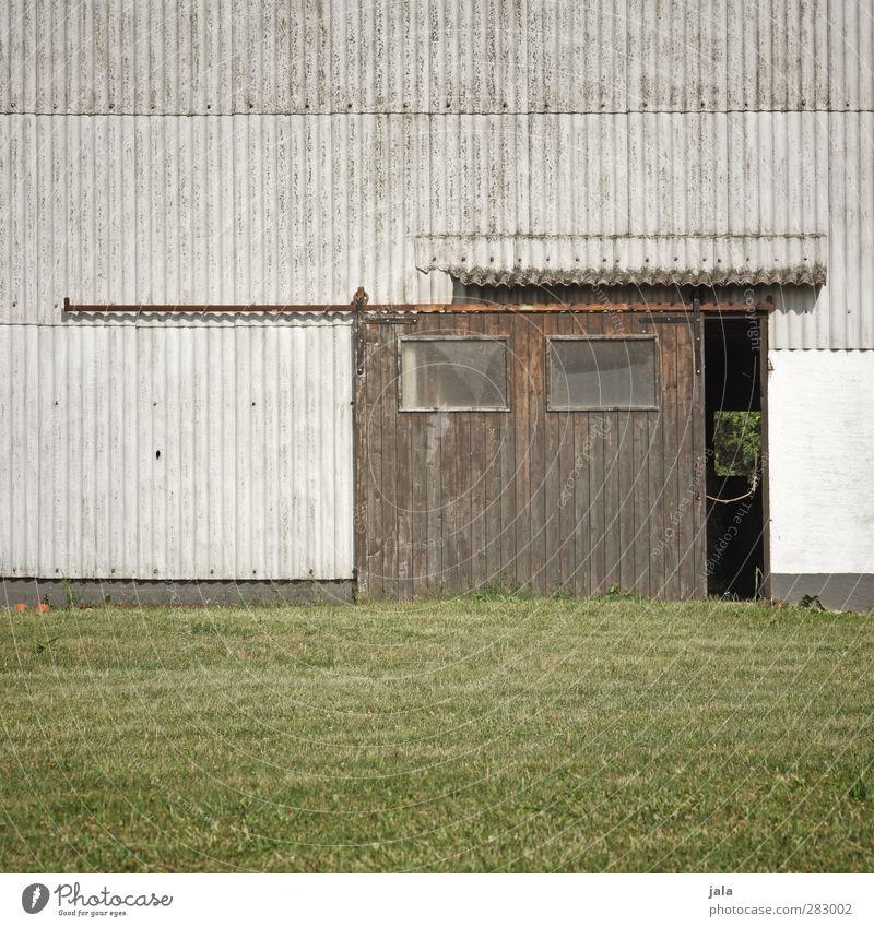 durchguck Pflanze Wiese Wand Gras Mauer Gebäude Fassade trist Bauwerk Tor Scheune Scheunentor