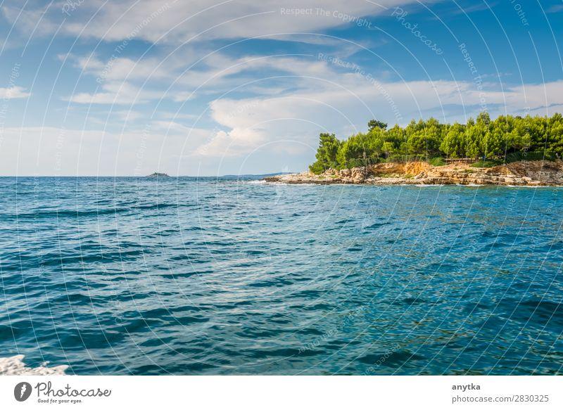 Blick auf die Insel in Kroatien schön Ferien & Urlaub & Reisen Tourismus Ausflug Sommer Meer Tapete Segeln Natur Landschaft Himmel Horizont Küste Stadt