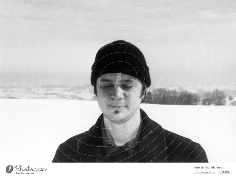 portrait im schnee Mann Himmel Schnee Horizont