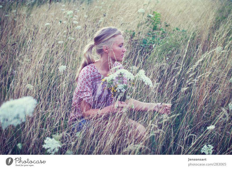 Blondes Mädchen auf Blumenwiese Mensch feminin Junge Frau Jugendliche 1 18-30 Jahre Erwachsene Natur Sommer blond Zopf schön natürlich Lebensfreude Romantik