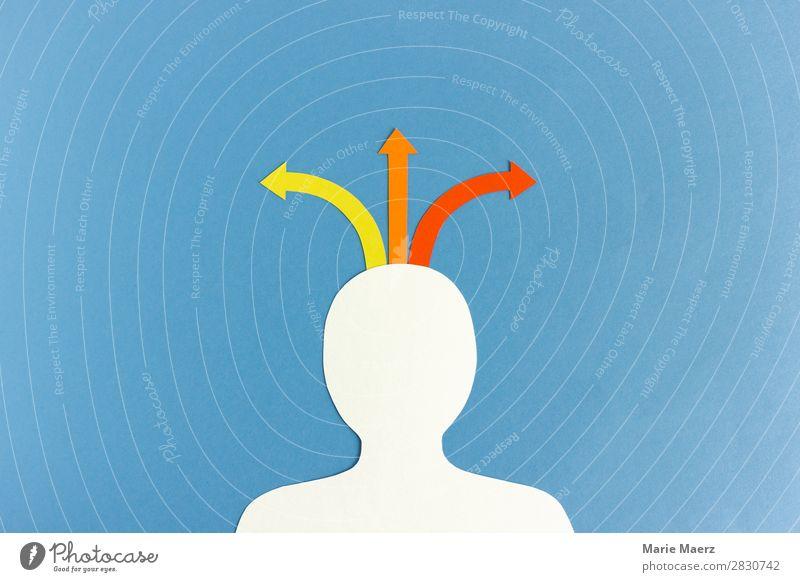 Welche Richtung? Bildung lernen Beruf Karriere Mensch Kopf Zeichen Pfeil einfach positiv blau Erfolg Mut Interesse Beginn Entschlossenheit Problemlösung