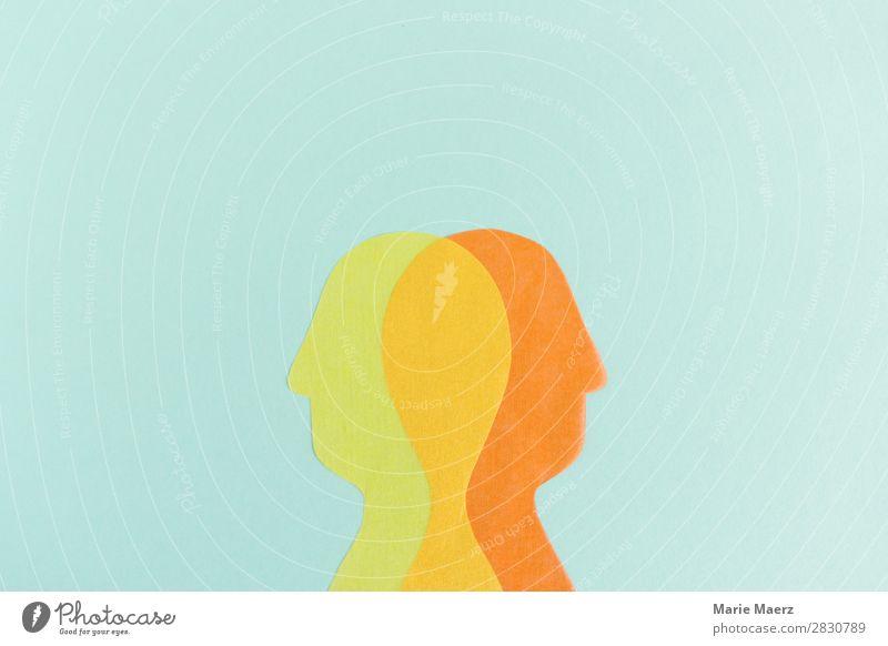 Perspektivwechsel Wissenschaften Studium Kopf 2 Mensch Denken sprechen Blick mehrfarbig Zusammensein Partnerschaft Konflikt & Streit Identität Perspektive