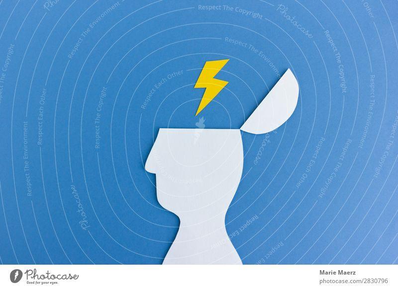Blitz / Kopf - Collage mit Blitz und Kopf-Silhouette Bildung lernen 1 Mensch entdecken Erfolg frech neu blau Sicherheit Schutz Neugier Interesse gefährlich