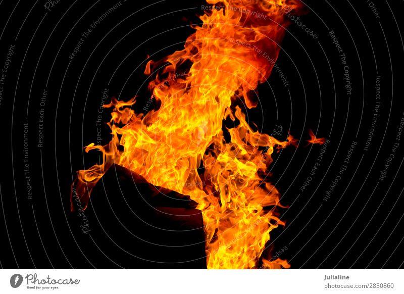 Rote Feuerflamme auf schwarzem Hintergrund Natur hell gelb rot Energie Flamme lodernd Brandwunde Feuerstelle Temperatur Gefahr erwärmen brennend Licht