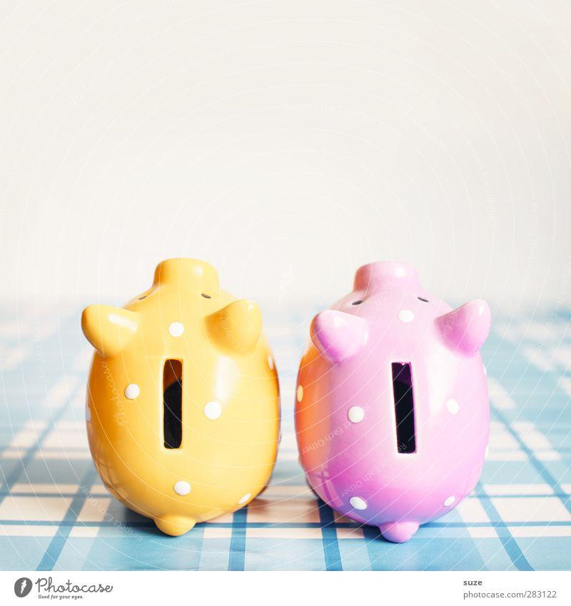 Total versaut ... für speedy;) blau gelb Glück klein lustig rosa Armut Design Lifestyle paarweise Dekoration & Verzierung kaufen niedlich Geld Kunststoff Kitsch